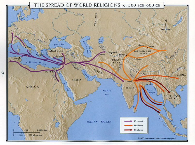 map of the spread of world religions