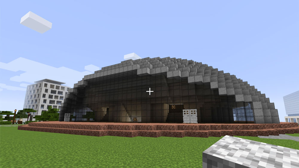 a computerized version of Kresge Auditorium built in Minecraft