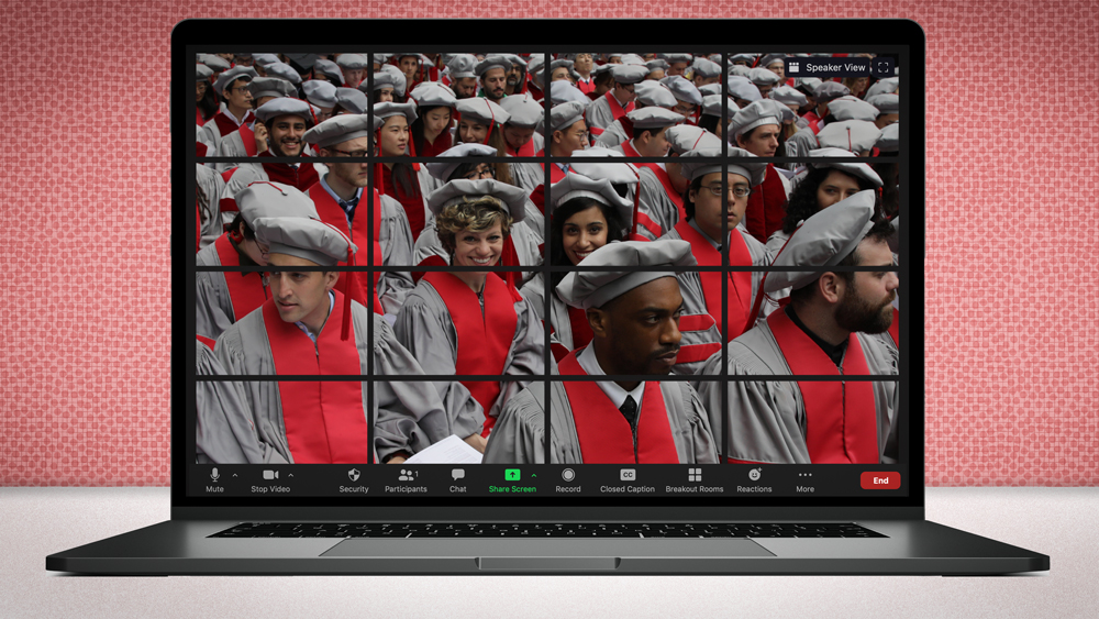 photo by Dominick Reuter of PhD graduates, on a laptop screen. Image by Christine Daniloff