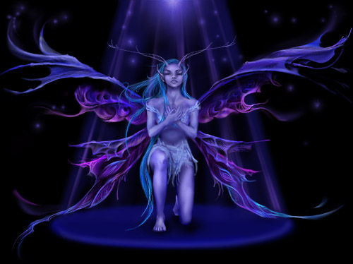 Blue-purple fairy kneeling