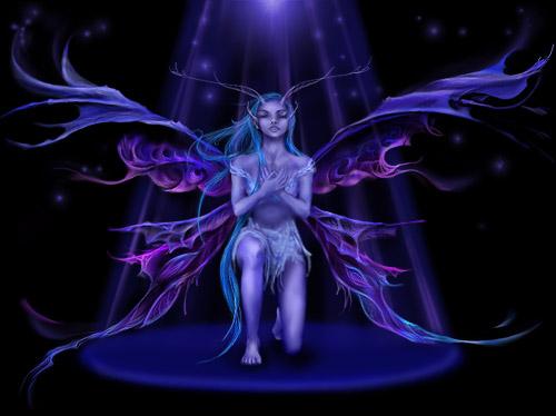 Blue-purple fairy kneeling