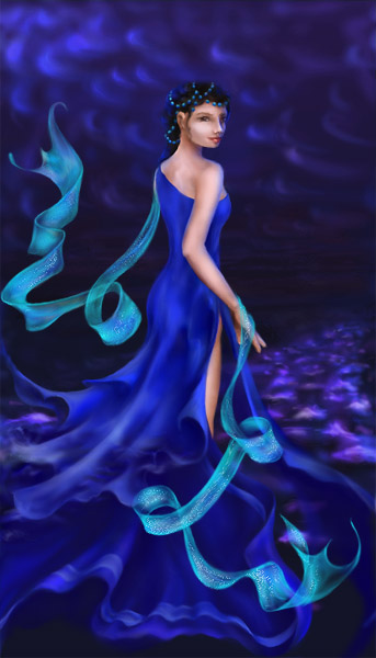 Beautiful lady dressed in the waves of the sea