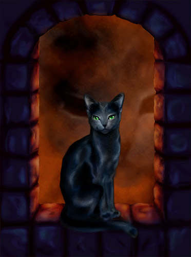 A black cat with glowing green eyes, in a castle windowsill
