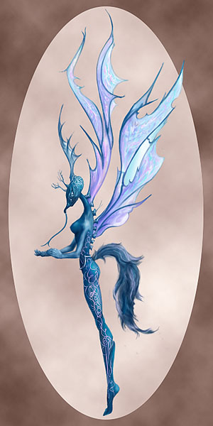 lithe, bluish female creature