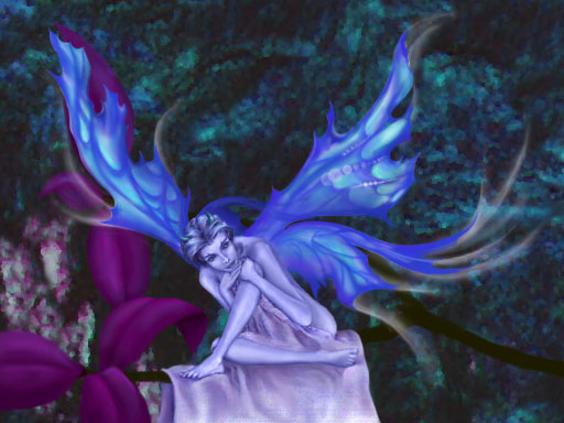 Winged, sitting, violet fairy