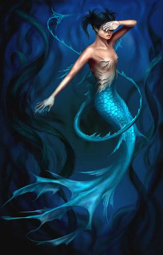 mermaid covering her eyes