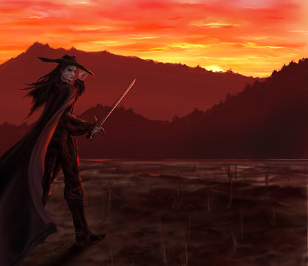 sunset over mountains, man with sword