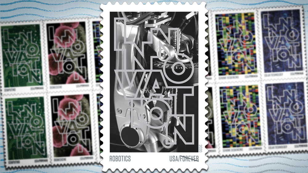 newly released postage stamps showing innovations in science